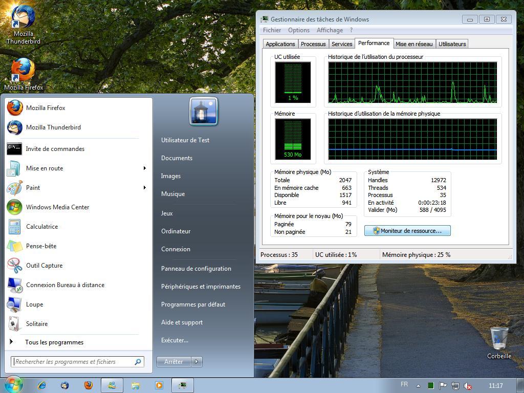 Bureau de Windows Seven avec aéro désactivé
