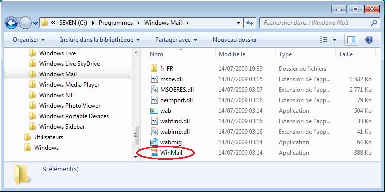 Présence de WinMail.exe dans le système