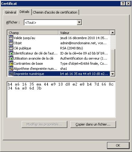 Lecture de l'empreinte d'un certificat sous Windows