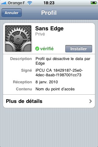 iPhone installation d'un profil