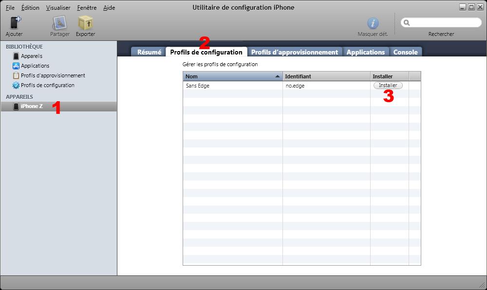 Utilitaire de Configuration iPhone (Installation du profil)