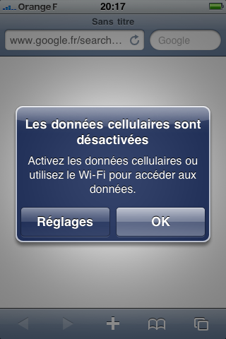 iOS4 Message d'erreur