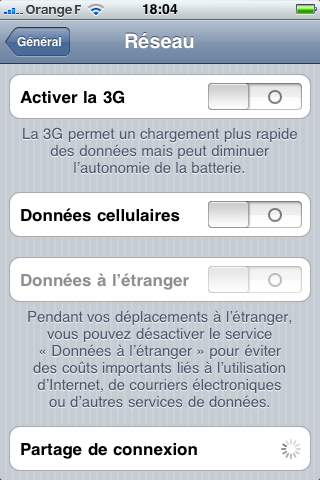 iOS4 Paramètres Reseau