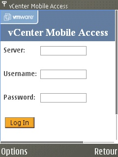 vCenter Mobile Access - Login sur Symbian