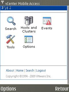 vCenter Mobile Access - Accueil sous Symbian